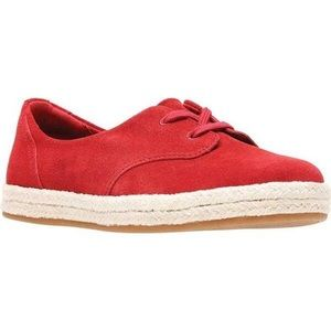 Clarks Red Suede Lace Up Espadrilles Sneakers 12